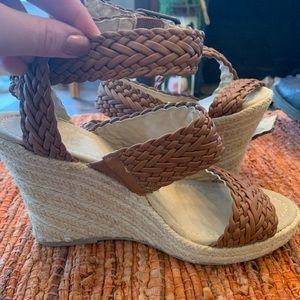 Braided Strappy Wedge Sandal